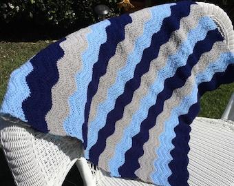 Blue Crocheted Ripple Blanket