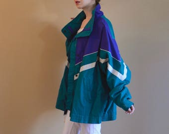 Vintage Ski Jacket Purple and Teal Winter Coat Colorblock Womens One Size
