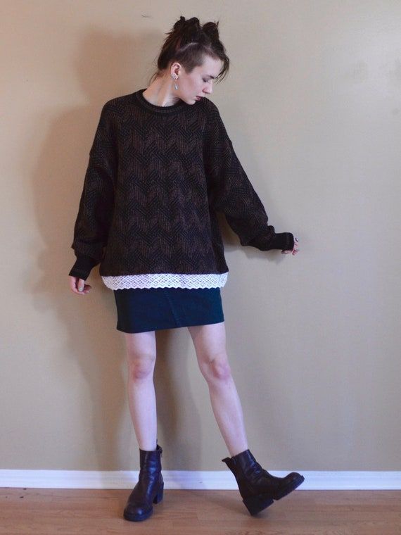a1fb5ccb6bf1f Chevron Knit Sweater Vintage Brown Winter Patterned Sweaters
