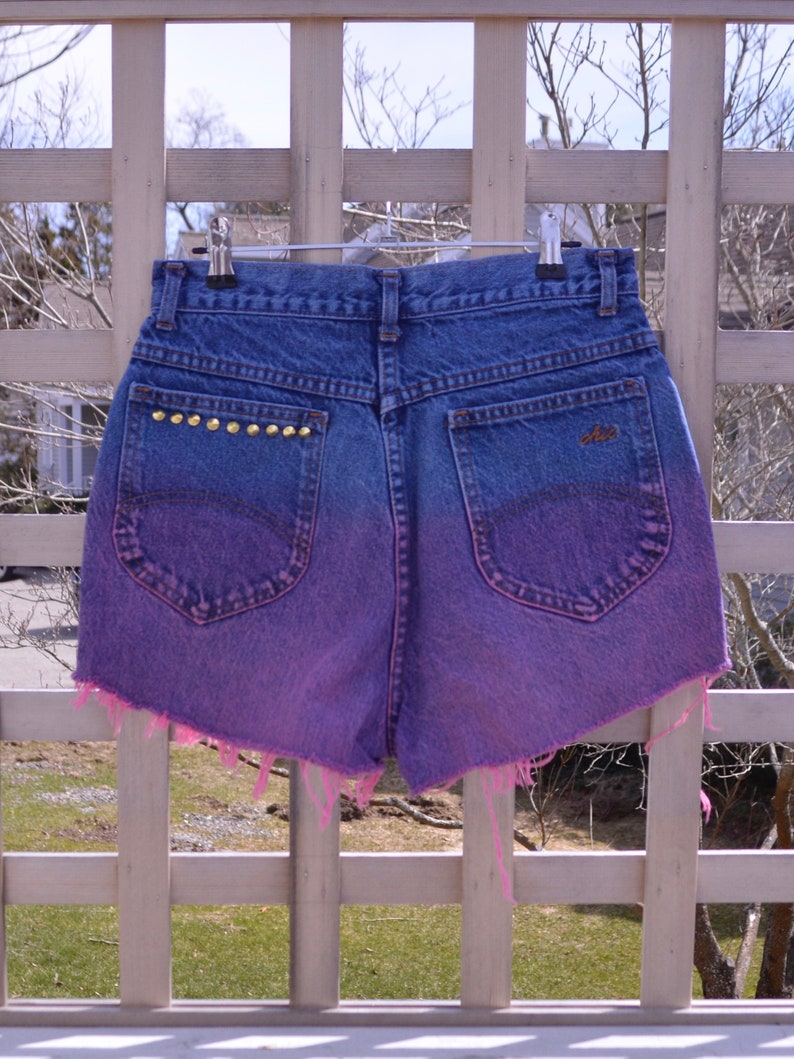 Dip Dyed Studded Frayed Festival Shorts Angled Hem Denim Vintage Upcycled Mom Jeans High Waisted Cut Off Shorts size Small womens