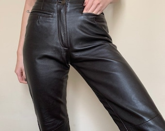 0b9655492f03d9 Brown skinny leather trousers high waisted vintage trousers leather pants  size XS