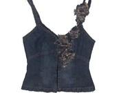 Plein sud vintage 90s denim jeans corset top blouse denim vintage corset bustier
