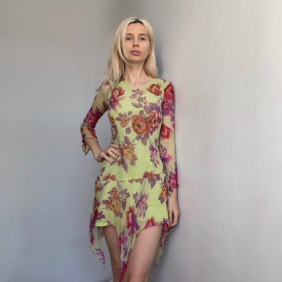 Summer vintage silk dress floral silk dress asymme