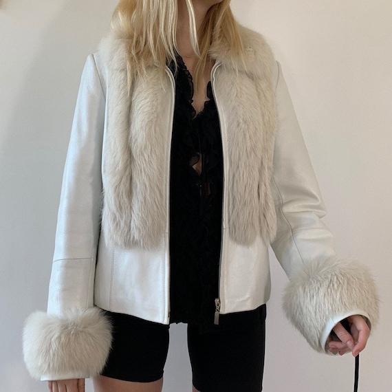 vintage Snow White leather coat with fox fur trims