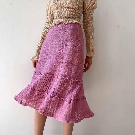 Pink crochet knitted  handmade skirt hand knitted