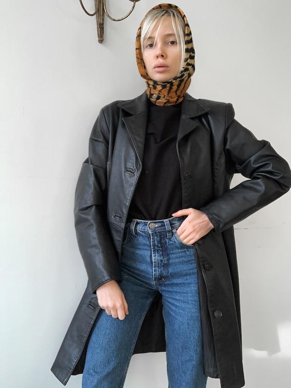 Vintage 90s leather coat matrix leather coat black