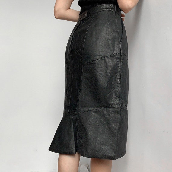 High waisted vintage leather 80s skirt lizard leat