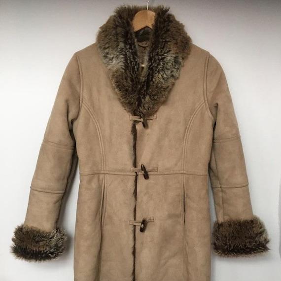 Vintage 90s faux fur faux suede Afghan coat penny