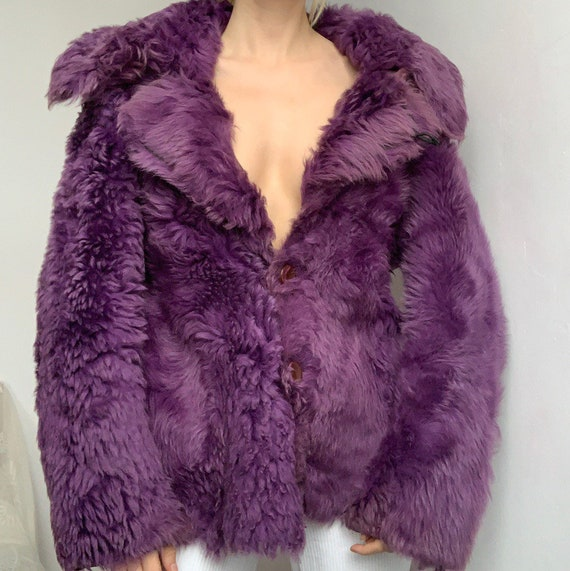 Genuine vintage reversible purple lilac sheepskin… - image 2