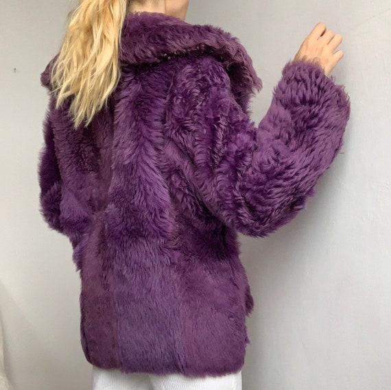 Genuine vintage reversible purple lilac sheepskin… - image 10