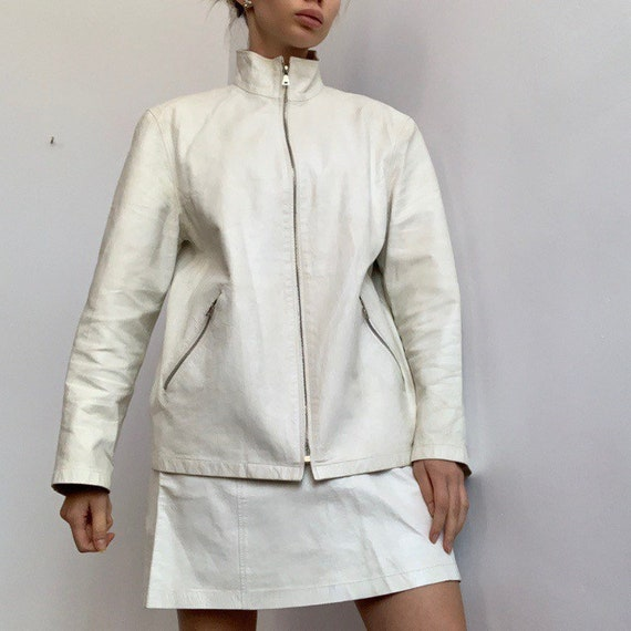 White Prada 90s leather jacket Prada coat