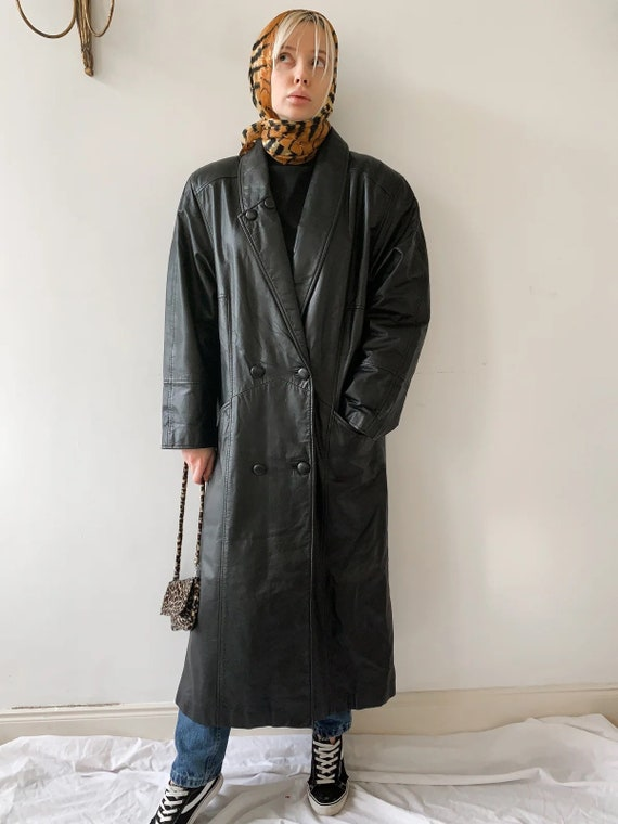 Genuine 80s maxi leather coat double breasted matr