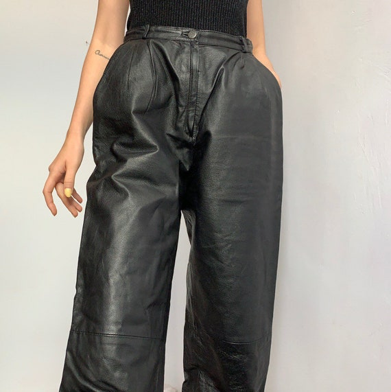 Wide leg tapered leg high waisted leather trousers