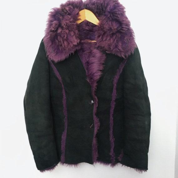 Genuine vintage reversible purple lilac sheepskin… - image 9