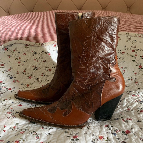 Vintage embroidered cowboy boots leather cowboys w
