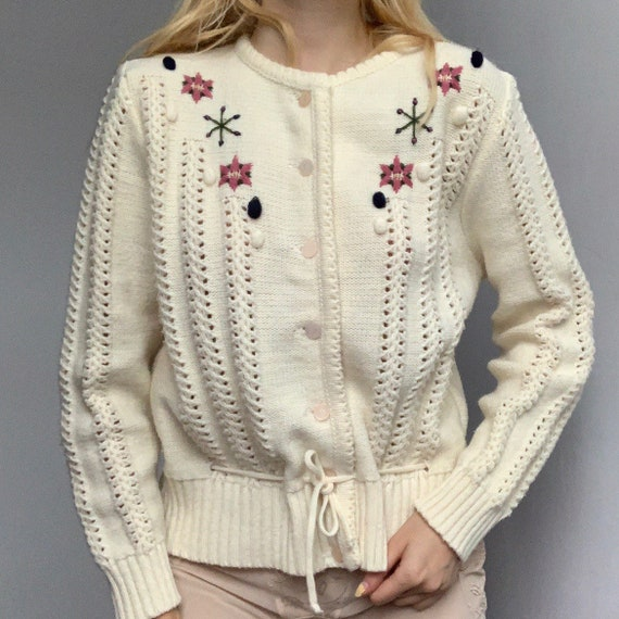 Genuine 80s handmade hand knitted cardigan wool vi