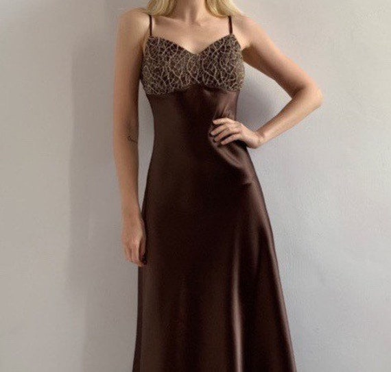 Vintage golden brown maxi evening ball gown 2000 g