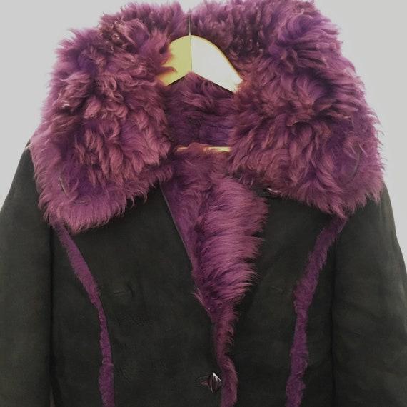 Genuine vintage reversible purple lilac sheepskin… - image 7