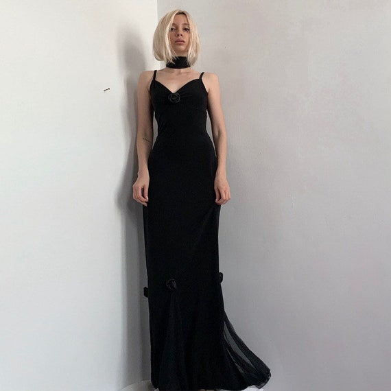 Black roses vintage 2000 gowns maxi dress morticia