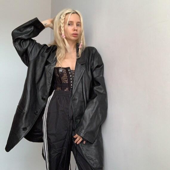 Vintages oversized leather coat men's leather coat