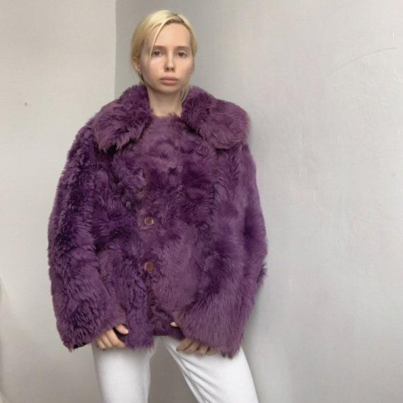 Genuine vintage reversible purple lilac sheepskin… - image 1
