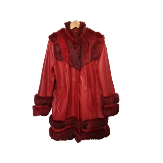 Genuine vintage red leather coat 90s leather coat