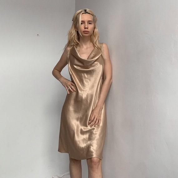 Gold liquid satin handmade 90s dress gold dress y2