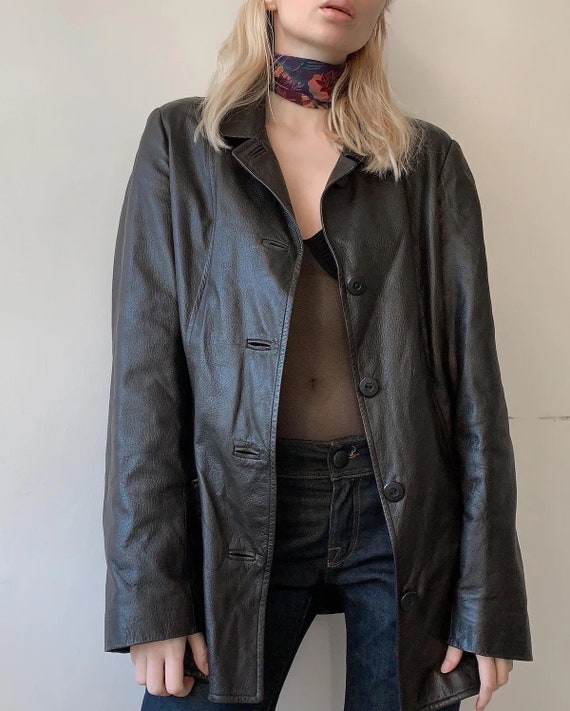 90s early 2000 lightweight leather coat textured c