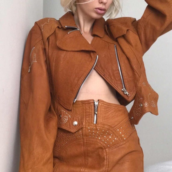 80s leather vintage set high waisted skirt and cro