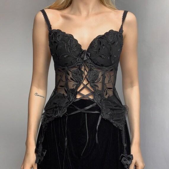 Vintage 90s corset top suspender corset girdle lac