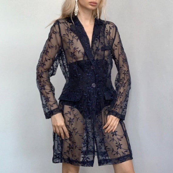 Organza coat embroidered see through vintage coat