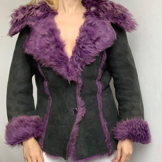 Genuine vintage reversible purple lilac sheepskin… - image 5
