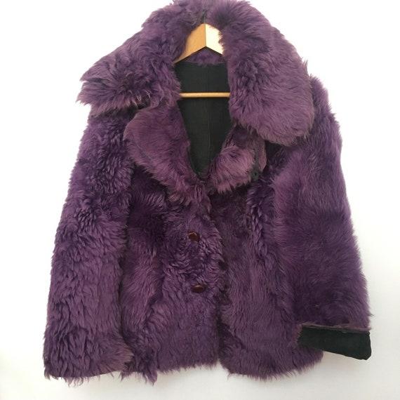 Genuine vintage reversible purple lilac sheepskin… - image 4