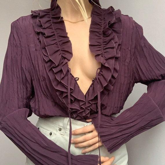 Purple pleated vintage peasant blouse ruffled shir