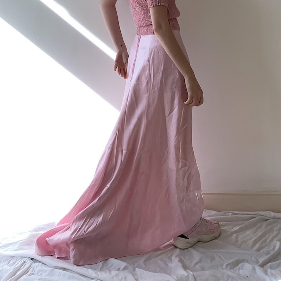 Maxi pearl pink metallic satin pink gown skirt 90s