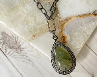 Ulka Rocks RARE green prehnite gemstone necklace with a pave diamond accent, green pendant, special pendant, light green necklace