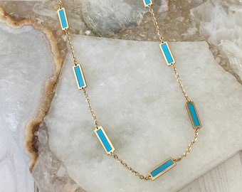 Ulka Rocks 14k gold station necklace | Teal and gold necklace | Blue station | Turquoise station | Turquoise necklace | Italian gold