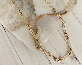 Ulka Rocks 14k gold link chain necklace, Blogger necklace, On trend necklace, Long link chain, 14k gold chain