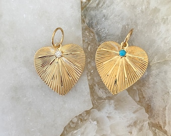 Ulka Rocks Exclusive 14k solid gold diamond etched heart pendant | Turquoi Heart charm | Gold heart | Etched diamond heart | Etched necklace