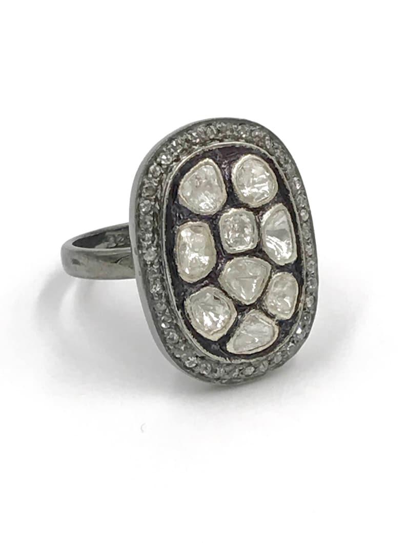 Pave rough cut diamond statement ring
