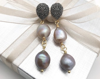 Pave diamond and pearl earrings