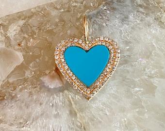 Ulka Rocks Exclusive 14k solid gold diamond turquoise heart pendant | Heart charm | Gold heart | Diamond heart | Blue diamond heart