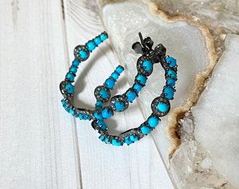 Ulka Rocks Exclusive Sleeping Beauty Turquoise  Diamond Earrings | Oxidized silver and turquoise hoops | 30mm genuine turquoise hoops
