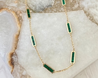 Ulka Rocks 14k gold station necklace | Green and gold necklace | Green station | Malachite station | Malachite necklace | Italian gold