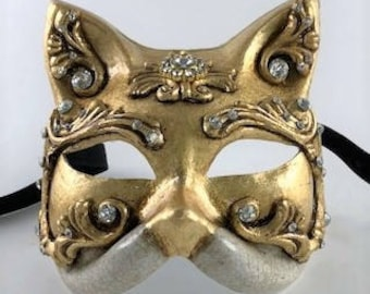 Venetian Gold Baroque Cat Mask