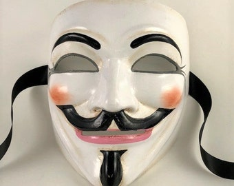 Glowing V For Vendetta Guy Fawkes Mask Creepy Scary Etsy