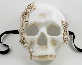 Venetian Skull Mask - Skulls and Roses White