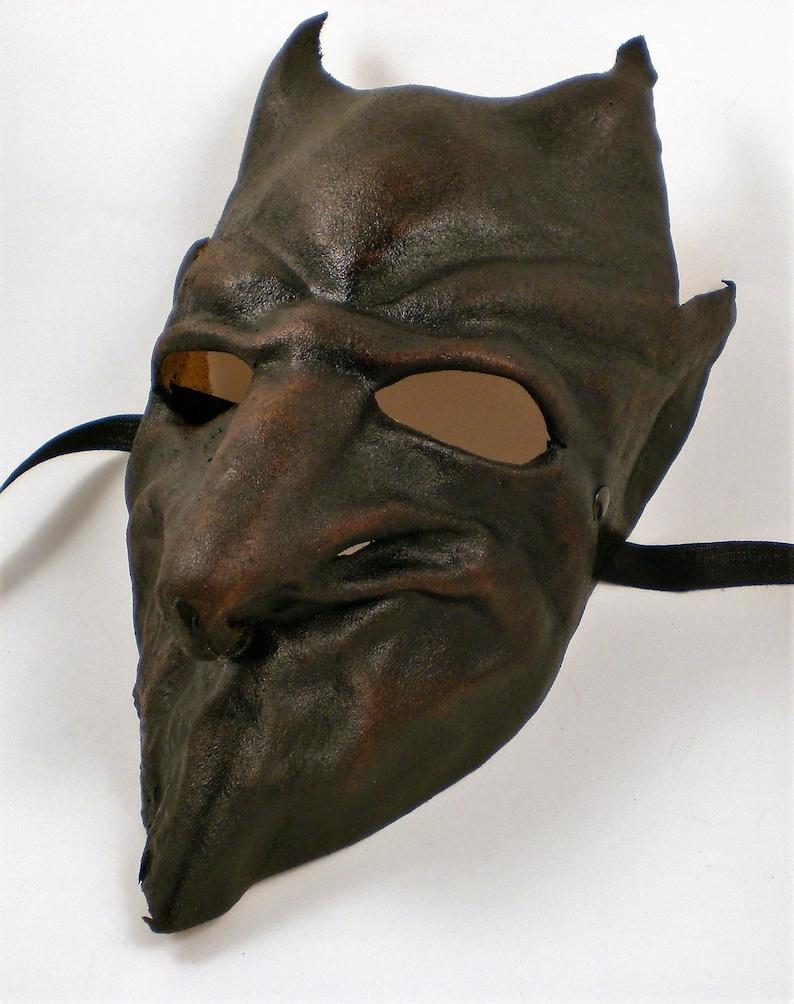 Italian Leather Demon Devil Mask Dark Brown