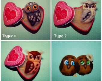 Owl brooch owl jewelry Brooch handmade Felted brooch owl Needle felted owl Bird felt miniature Birds felt Sculpture owl