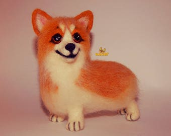 Corgi pet portrait Felt dog Welsh Corgi, Christmas gift, needle felted animal, pet portrait, Dog memorials, needle felted dog, Corgi Dog